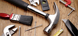 Handyman tools, hammer, nails, paint brush