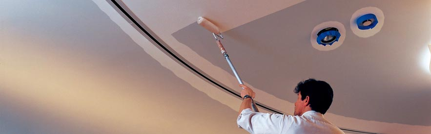 Professional painter, painting ceiling.