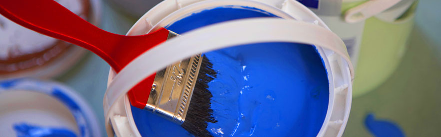 Quality paint, brushes, blue.